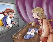 stock photo of evil queen  - the evil elf wants the baby of the queen - JPG
