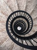 image of balustrade  - Spiral wood stairs with black painted balustrade - JPG
