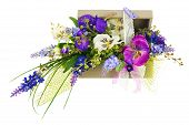 picture of centerpiece  - Bouquet from artificial flowers arrangement centerpiece in wooden gift box isolated on white background - JPG