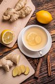 pic of ginger  - Top view of ginger tea with lemon - JPG