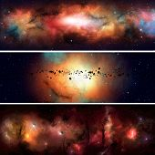 image of imaginary  - abstract imaginary deep space nebula banners with planets and asteroids - JPG