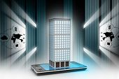 pic of smart grid  - smart phone with real estate concept in attractive color background - JPG