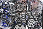 image of motor vehicles  - Powerful engine with metal, chrome, steel, plastic parts of automobile race motor