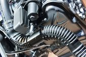 stock photo of motor vehicles  - Engine with metal and chrome parts of the automobile motor - JPG