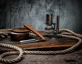 image of shaving  - Shaving accessories on a luxury wooden background  - JPG