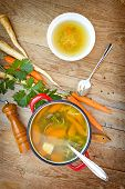 stock photo of vegetable soup  - Vegetable soup cooked with fresh organic vegetables - JPG
