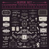 foto of classic art  - Vector Calligraphic baroque set - JPG