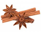 picture of cinnamon  - cinnamon stick and star anise spice isolated on white background closeup - JPG