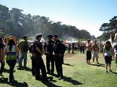 Four Sf Police Officers Stand Together Talking As They Supervise Events At Power To The Peaceful 201
