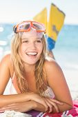 picture of flipper  - pretty blonde with snorkel and flippers at the beach - JPG