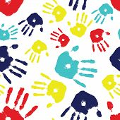 picture of autism  - Brightly colored handprints arranged in a seamless tile - JPG