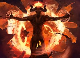foto of evil  - Burning diabolic demon summons evil forces and opens hell portal with ancient alchemy signs illustration - JPG