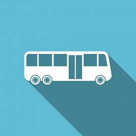 pic of transportation icons  - bus flat icon public transport sign original modern design flat icon for web and mobile app with long shadow  - JPG