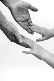pic of grandparent child  - black and white - JPG