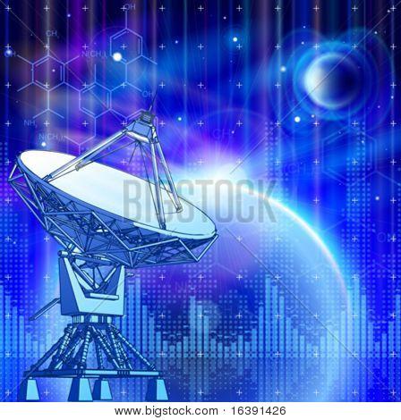 Постер, плакат: Спутниковая антенна блюда доплеровская РЛС голубой планеты электромагнитных волн & химические формулы , холст на подрамнике
