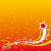 Party stars with orange background. Vector