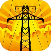 Icon of black high-tension transmission line silhouette with orange sun and rays on background