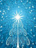 Árbol de Navidad de vector abstracto con fondo azul brillo