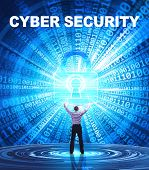 Technology, Internet, Business And Network Concept. Young Business Man Provides Cyber Security: Cybe poster