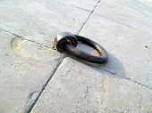 stock photo of muharram  - Heavy iron ring embeded in the pavement flooring of historic chhota imaambada of Lucknow - JPG