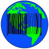 earth with barcode - global sales or international trade