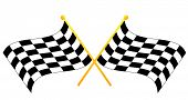 two crossed waving black and white checkered flags - vector