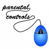 mouse with cord spelling out word parental controls