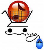 concept of shopping on the internet for music - downloading music