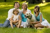 pic of family fun  - Happy family with dog - JPG