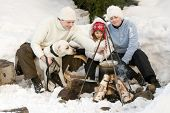 Family on winter camping
