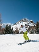 Woman skiing,