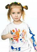 stock photo of cute little girl  - beautiful little girl with a t - JPG