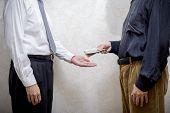 Man Paying  A Dollars Bribe To A Corupted Nan Accepting It poster