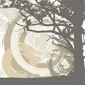 Abstract grunge background with a tree