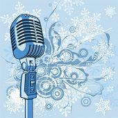 Cool vintage microphone & snowflakes