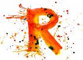 watercolor paint - letter R