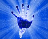 handprint & rays - blue technology background,  lights and chemical formulas