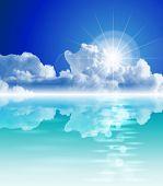 The bright sun, tropical sea, clear sky, fluffy clouds - ecological idyll. Eps10
