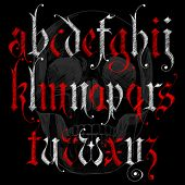 Alfabeto gótico bosquejo & cráneo Sketch