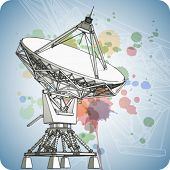 Satellite dishes antena - doppler radar & color paint background. Eps10