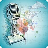 Microphone sketch, music sheets & flying doves on the color paint background of stylized ornament &