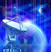 satellite dishes antenna - doppler radar, blue planets, electromagnetic waves & chemical formulas -