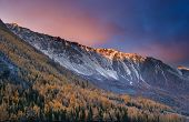 Colorful dawn at a mountains