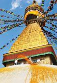 Buddhist temple Bodhnath workers prepare to holiday. Kathmandu, Nepal.