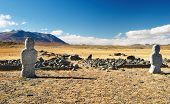 Ancient turkic monuments in mongolian desert