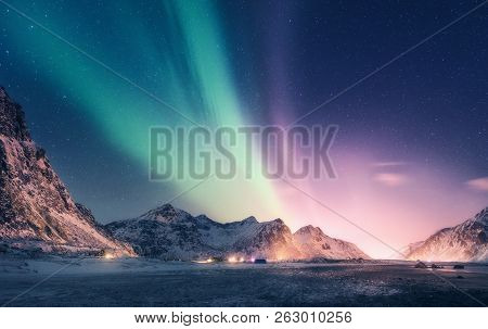 Green And Purple Aurora Borealis