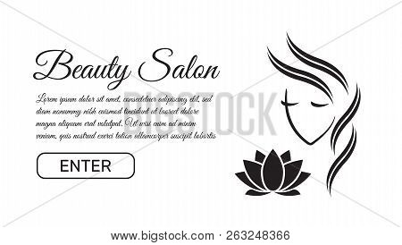 poster of Beautiful Woman Logo Template For Hair Salon, Beauty Salon, Cosmetic