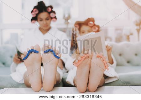 poster of Spa Day In Beauty Salon. Little Lady With Curlers. Mother And Daughter In Spa. Consept Beauty Salon.