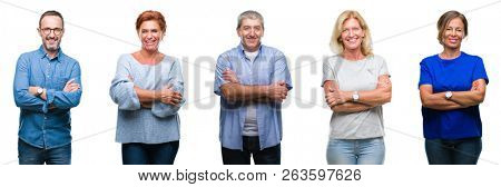 poster of Collage of group of middle age and senior people over isolated background happy face smiling with cr