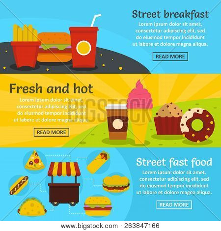 poster of Street Fast Food Banner Horizontal Concept Set. Flat Illustration Of 3 Street Fast Food Banner Horiz